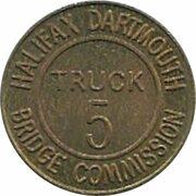 Token - Halifax Dartmouth Bridge Commission (Truck 5; Brass) – revers