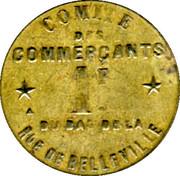 1 Franc - Comité des Commercants du Bas de la rue de Belleville - Paris [75] – avers
