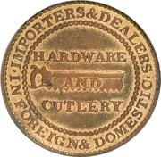 Hard Times Merchant Token - James Watson Hardware - Philadelphia PA – revers