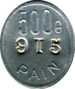 500 grammes Pain - Boulangerie coopérative des chemins de Fer  - Tours [37] – revers