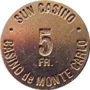 5 Francs - Sun Casino – revers