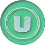 Jeton de chariot vert translucide U – avers