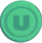 Jeton de chariot vert translucide U – revers