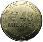 Nationale Postcode Loterij commercial token - 2012 48 miljoen Euro – revers