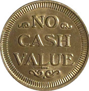 Token - No Cash Value (Eagle looking right; 22.5 mm; Brass; long teeth) – revers