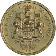 Medallion - Canada, 20 Dollar, 1967 (reproduction) – revers