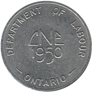Canadian National Exhibition-Department of Labour (Ontario) Token – avers