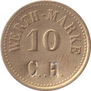10 Pfennig (Werth-Marke; Brass; '10' - 4.4mm; Counterstamped) – avers