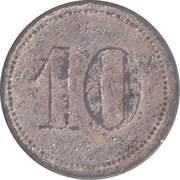 10 Pfennig (Werth-Marke; Zinc; line of dots; long tail of '1') – revers