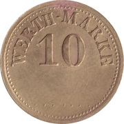 "10 Pfennig (Werth-Marke; Brass; thin ""1"") – avers"