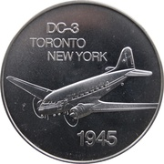 Medal - Inaugural Flight Between Toronto and New York (DC-3) – avers