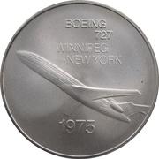 Medal - Inaugural Flight Between Winnipeg and New York (Boeing 727) – avers