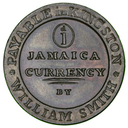 William Smith 1 penny Jamaica Currency – avers