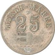 """25 pfennig (Werth-Marke ; Ligne de points ; Contremarque """"L"""") – avers"""