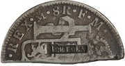 4 Shillings  1-½ Pence (Countermark type I) – avers
