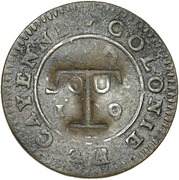 1½  Pence (Black Dog; Cayenne colony 2 sous host) – avers