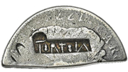4 Shillings 1½ Pence (Type II countermark) – avers