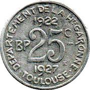 25 Centimes Département de la Haute Garonne - Toulouse (31) – revers