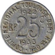25 centimes - Comité régional - Toulouse [31] – revers