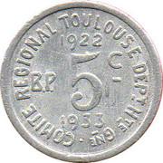 5 centimes - Comité régional - Toulouse [31] – revers