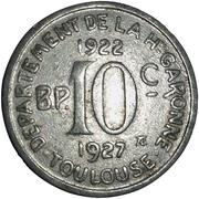 10 Centimes Département de la Haute Garonne - Toulouse 31 – revers