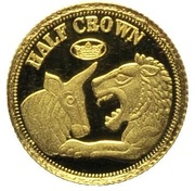½ Crown - Elizabeth II / Fabula Aurum - Lion and Bull – revers