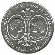 25 pence Mariage du prince Charles et de Diana Spencer (cupronickel) – revers