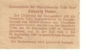 20 Heller (Tulln) – revers