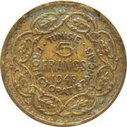 5 francs - Muhammad VIII al-Amin (protectorat français) -  revers