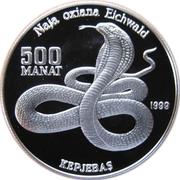 500 manat (Serpent Naja oxiana) – revers