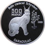 500 manat  Lynx du desert – revers