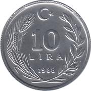 10 lira (étoile à droite) -  revers