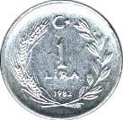 1 lira (étoile à droite) -  revers