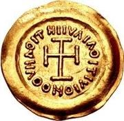 1 tremissis Au nom de Maurice Tibère, 582-602 (buste propre avec corps sectionné) – revers