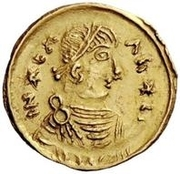 1 tremissis Au nom d'Héraclius, 610-641 (buste réaliste; tête régulière avec étoiles) – avers