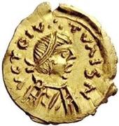 1 tremissis Au nom de Constant II, 641-668 (croix courte) – avers