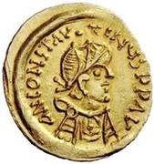 1 tremissis Au nom de Constans II, 641-668 (croix longue) – avers
