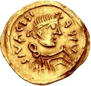1 tremissis Au nom de Maurice Tiberius, 582-602 (buste barbare) – avers
