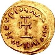 1 tremissis Au nom de Maurice Tiberius, 582-602 (buste barbare) – revers