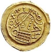 1 tremissis Au nom en inscriptions dégénérées (torse avec quinze sections) – avers