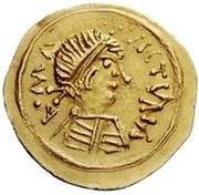 1 tremissis Au nom de Maurice Tiberius, 582-602 (buste propre avec corps doublé) – avers