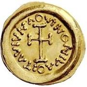 1 tremissis Au nom de Maurice Tibère, 582-602 (buste propre avec corps doublé) – revers