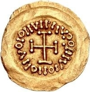 1 tremissis Au nom en inscriptions dégénérées (Torse avec deux sections) – revers