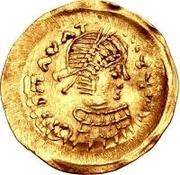 1 tremissis Au nom de Maurice Tiberius, 582-602 (buste propre avec corps sectionné) – avers