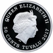 50 cents - Elizabeth II (Chevaux) – avers