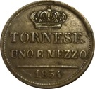 1½ tornese - Ferdinando II – revers