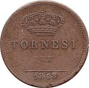 3 tornesi - Ferdinando II – revers