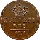 2 tornesi - Ferdinando II – revers