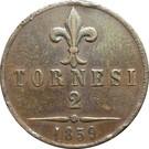 2 tornesi - Francesco II – revers