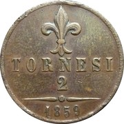 2 tornesi - Francesco II – revers